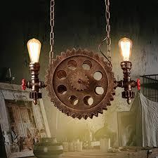 retro vintage stil hängeleuchte industrie loft pendelleuchte für wohnzimmer esszimmer bar kreative persönlichkeit metall eisen holz zahnrad
