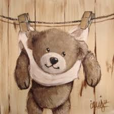 tableau ourson chambre bébé ourson sur la corde à linge ours nounours bears