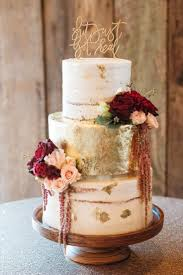 Gold Foil Cake With Accents Of Burgundy And Blush Floral Wedding Rustic