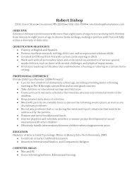 Resume Description Examples Nanny Le Les Basic Caregiver Profile