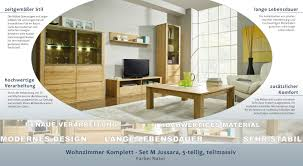 wohnzimmer komplett set m jussara 5 teilig teilmassiv farbe natur
