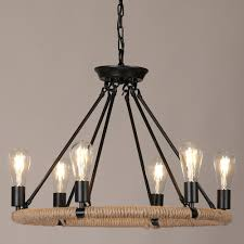 Copula Rustic Style Hemp Rope Metal 1 Tier 2 Round Chandelier Pendant Light With Exposed Bulb