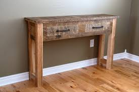 Oak Wood Reclaimed Console Table With 2 Drawers On Laminate Flooring For Rustic Side
