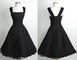 Black Short Knee Length Vintage 60s Chiffon Prom DressSimple Bridesmaid DressBlack