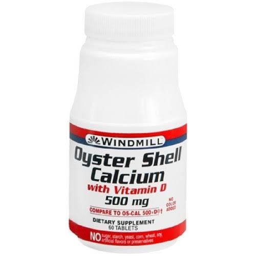 Windmill Oyster Shell Calcium - 500mg, 60 Tablets