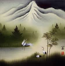 Cranes Dance At Pine Mountain Asian Art Painting