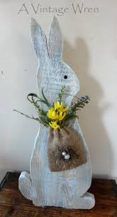 Primitive Easter Home Decor by Rustic Easter Bunny Wooden Bunny Rustic Spring Decor Painted