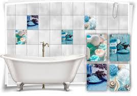 badezimmer fliesen aufkleber spa wellness kerzen salz türkis