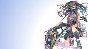 Anime Girls German Shepherd Guns Daito Gas Masks Wallpaper
