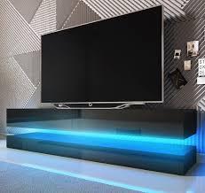 tv lowboard bird in schwarz hochglanz 2 teilig 140 x 45 cm hängend mit beleuchtung