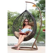 Best Buy Outdoor Wicker Patio Furniture Single Brown Rattan Swing
