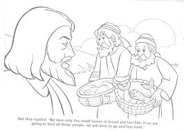 Clip Art Jesus Feeds 5000 Coloring Page Breadedcat Free With Pages