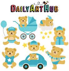 Baby Boy Bear Clip Art Set