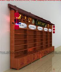 Chinese Style Solid Wooden Display Cabinet In Classic Design With Storage Counter Food Retail Store Fixture