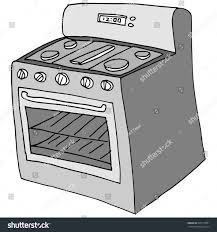 Drawing Front View Retro Stove Stock Vector