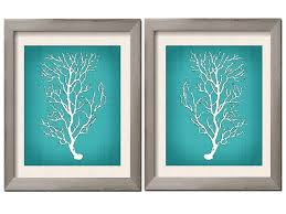 Beach House Decor Teal Wall Art White