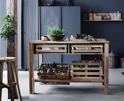 modernes blaugrau und rustikale holzmöbel für die küche