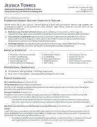 Sample Resume Nursery Teacher India Substitute Example Template Teachers