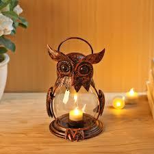 Owl Tealight Holder Hurricane Candleholders Hanging Lantern for