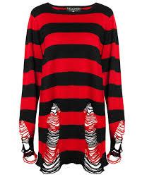 killstar krueger knit sweater top black red stripe goth baggy