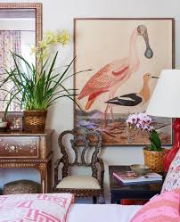 Mark D Sikes Art Bird Art British Colonial Pink Color Palette