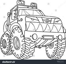 100 Monster Truck Coloring Book Cartoon Contour Illustration Big Stock Vector Royalty