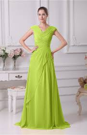 bright green prom dress elegant a line v neck short sleeve