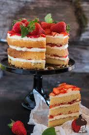 erdbeer vanille schicht torte mann backt
