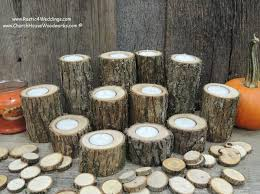 12 Rustic Candle Holders Tree Branch Wedding Centerpieces Wood