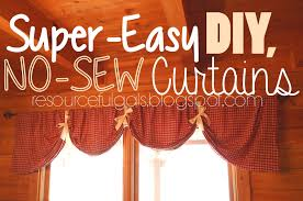 Kitchen Curtain Ideas Diy by The Resourceful Gals Super Easy No Sew Diy Curtains