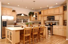 Natural Maple Cabinets Light Distressed Hickory Floors And Coffered Ceiling Above The Kitchen Island This Is Our Plans