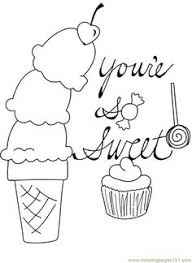 Candy Cupcake Ice Cream Cone Cherry Valentine Coloring Page