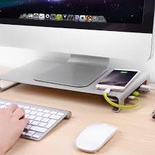 Imac Monitor Desk Mount by Suaoki Aluminum Alloy Desk Monitor Riser Stand 4 Port Usb Hub For