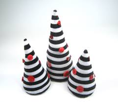 Nightmare Before Christmas Tree Toppers Bauble Set by Black White Stripes Christmas Trees Set Of 3 Eco Friendly Decor