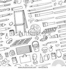 Art Hand Drawn Suppliesinstruments Seamless PatternVector Doodle Symbolsobjects For Painting