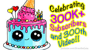 How to Draw a Cute Cake step by step Easy Celebrating 300K Subscribers