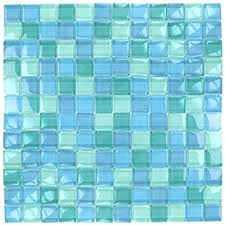turquoise blue glass tile blend 1 x 1 glass mosaic tile