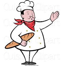 baker with bread loaf done in retro style clipart