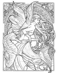 Seahorse And Mermaid Coloring Page Illustration