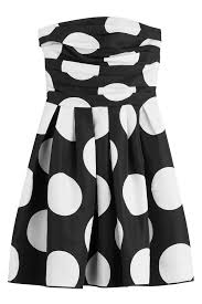boutique moschino polka dot strapless dress dots in black lyst