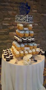 Small Wedding Cutting Cake And Cupcakes Displayed On A Square Cupcake Stand Lancaster PA