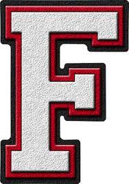 Presentation Alphabets White & Cardinal Red Varsity Letter F
