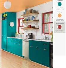 Teal Green Kitchen Cabinets by Teal And Red Yellow Orange Kitchen Teal Cabinets Red Windows