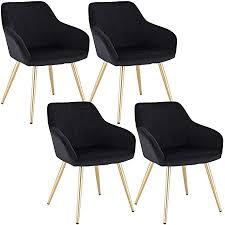 woltu 4 x esszimmerstühle 4er set esszimmerstuhl küchenstuhl polsterstuhl design stuhl mit armlehne mit sitzfläche aus samt gestell aus metall gold