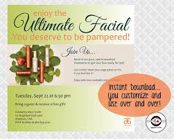 Ultimate Facial Instant Download Social Media Invitation Arbonne Party Invite Digital RE9 Skincare Pamper