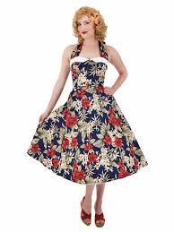 50s Inspired Navy Red Hawaiian Floral Halter Midi Dress