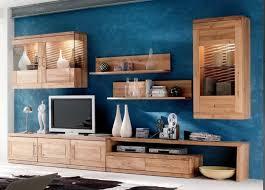 wohnwand wohnzimmer tv board wandboard vitrine hängeschrank wildeiche massiv