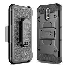 Motorola Heavy Duty Black Belt Clip Holster Kickstand Phone Case All Models