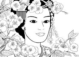 Japan Geisha Girl In The Garden More Coloring Pages