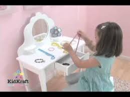 girls wooden vanity dressing table set with stool kidkraft 13009